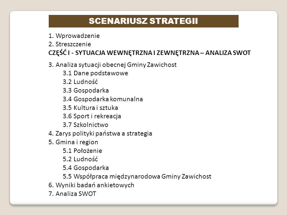 SCENARIUSZ STRATEGII 1. Wprowadzenie 2. Streszczenie CZĘŚĆ I - SYTUACJA WEWNĘTRZNA I ZEWNĘTRZNA – ANALIZA SWOT 3. Analiza sytuacji obecnej Gminy Zawic