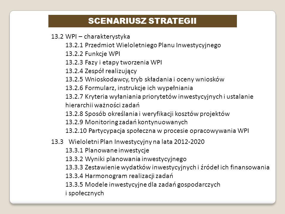 SCENARIUSZ STRATEGII 13.2 WPI – charakterystyka 13.2.1 Przedmiot Wieloletniego Planu Inwestycyjnego 13.2.2 Funkcje WPI 13.2.3 Fazy i etapy tworzenia W