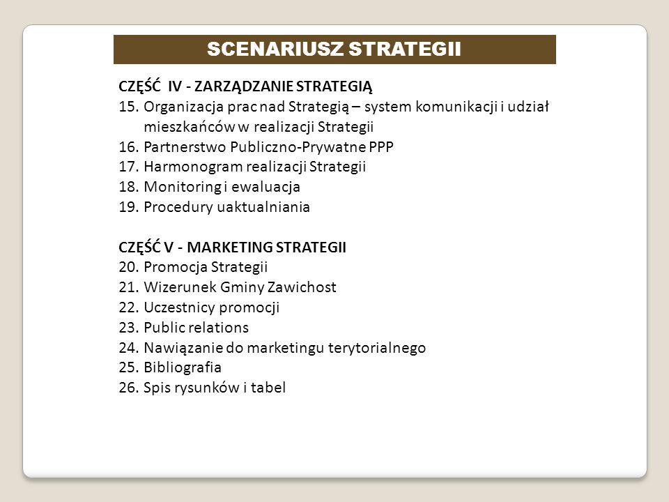 SCENARIUSZ STRATEGII CZĘŚĆ IV - ZARZĄDZANIE STRATEGIĄ 15. Organizacja prac nad Strategią – system komunikacji i udział mieszkańców w realizacji Strate