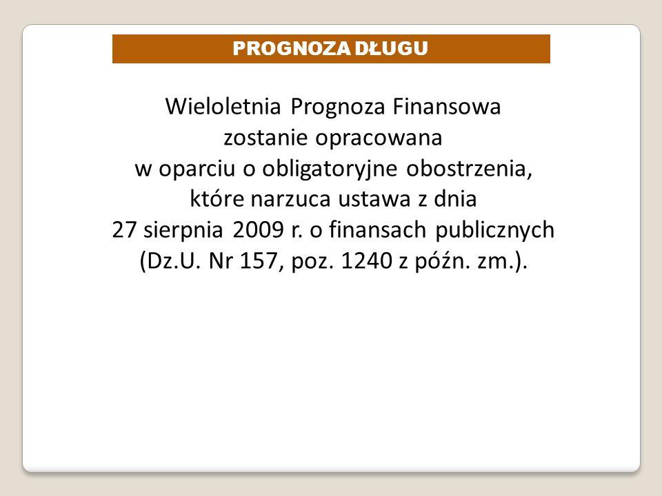PROGNOZA DŁUGU Wieloletnia Prognoza Finansowa zostanie opracowana w oparciu o obligatoryjne obostrzenia, które narzuca ustawa z dnia 27 sierpnia 2009