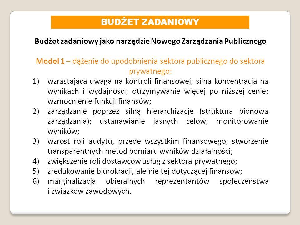 Budżet zadaniowy jako narzędzie Nowego Zarządzania Publicznego Model 1 – dążenie do upodobnienia sektora publicznego do sektora prywatnego: 1)wzrastaj