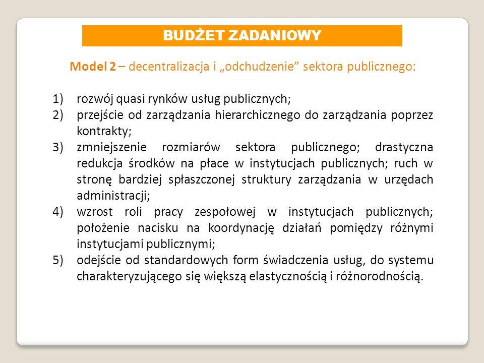 Model 2 – decentralizacja i odchudzenie sektora publicznego: 1)rozwój quasi rynków usług publicznych; 2)przejście od zarządzania hierarchicznego do za