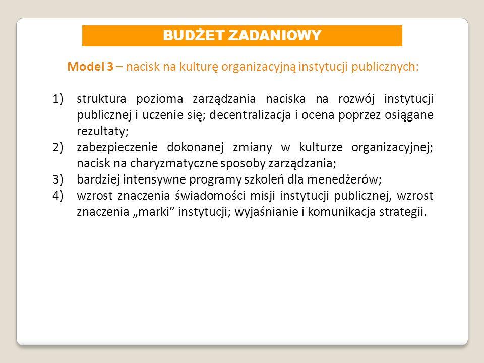Model 3 – nacisk na kulturę organizacyjną instytucji publicznych: 1)struktura pozioma zarządzania naciska na rozwój instytucji publicznej i uczenie si