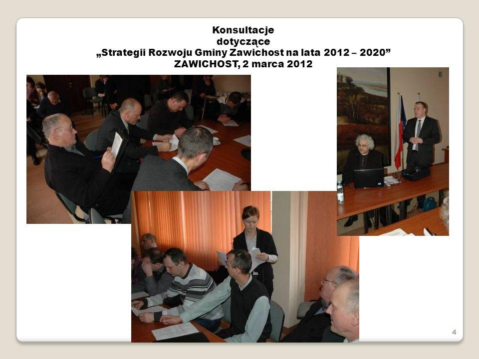 Konsultacje dotyczące Strategii Rozwoju Gminy Zawichost na lata 2012 – 2020 ZAWICHOST, 2 marca 2012 4