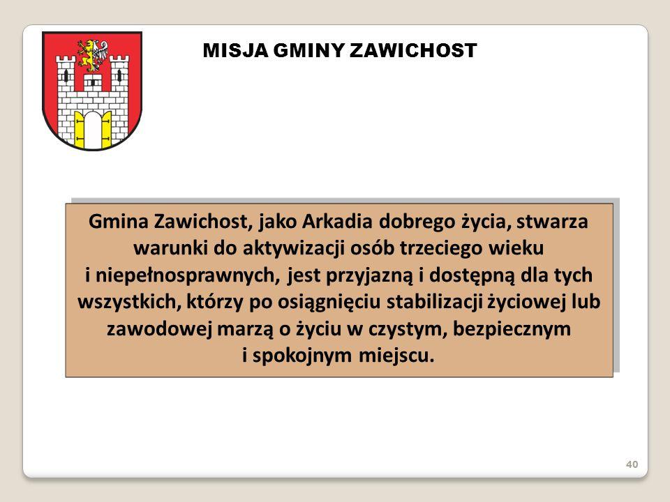 40 MISJA GMINY ZAWICHOST Gmina Zawichost, jako Arkadia dobrego życia, stwarza warunki do aktywizacji osób trzeciego wieku i niepełnosprawnych, jest pr