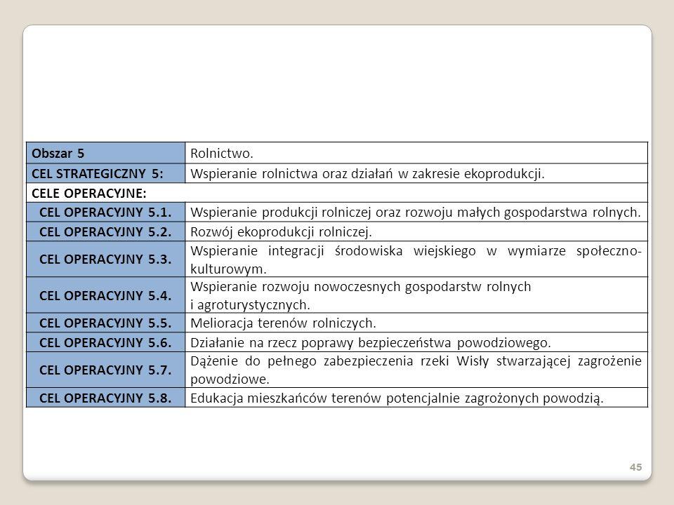 45 Obszar 5Rolnictwo. CEL STRATEGICZNY 5:Wspieranie rolnictwa oraz działań w zakresie ekoprodukcji. CELE OPERACYJNE: CEL OPERACYJNY 5.1.Wspieranie pro
