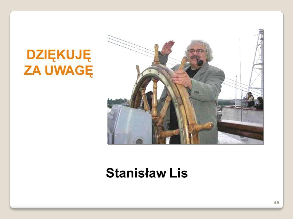 DZIĘKUJĘ ZA UWAGĘ Stanisław Lis 49