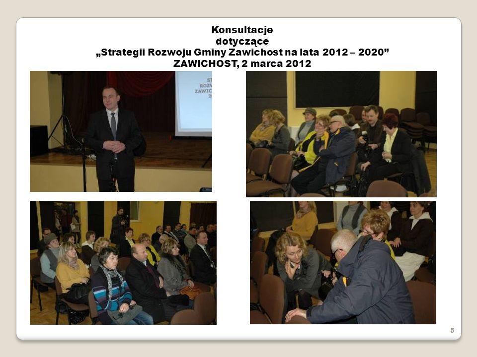 Konsultacje dotyczące Strategii Rozwoju Gminy Zawichost na lata 2012 – 2020 ZAWICHOST, 2 marca 2012 5