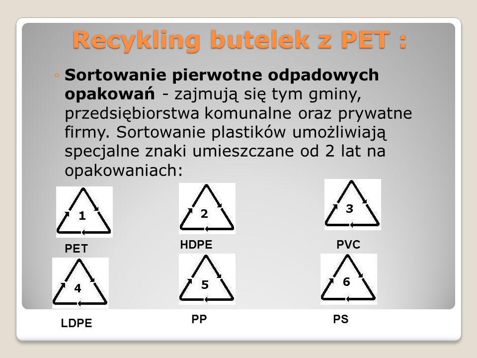 Recykling butelek z PET : Sortowanie pierwotne odpadowych opakowań - zajmują się tym gminy, przedsiębiorstwa komunalne oraz prywatne firmy. Sortowanie