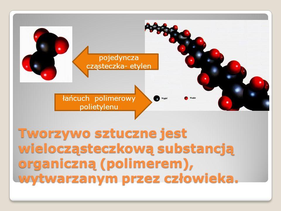 Tworzywo sztuczne jest wielocząsteczkową substancją organiczną (polimerem), wytwarzanym przez człowieka. łańcuch polimerowy polietylenu pojedyncza czą