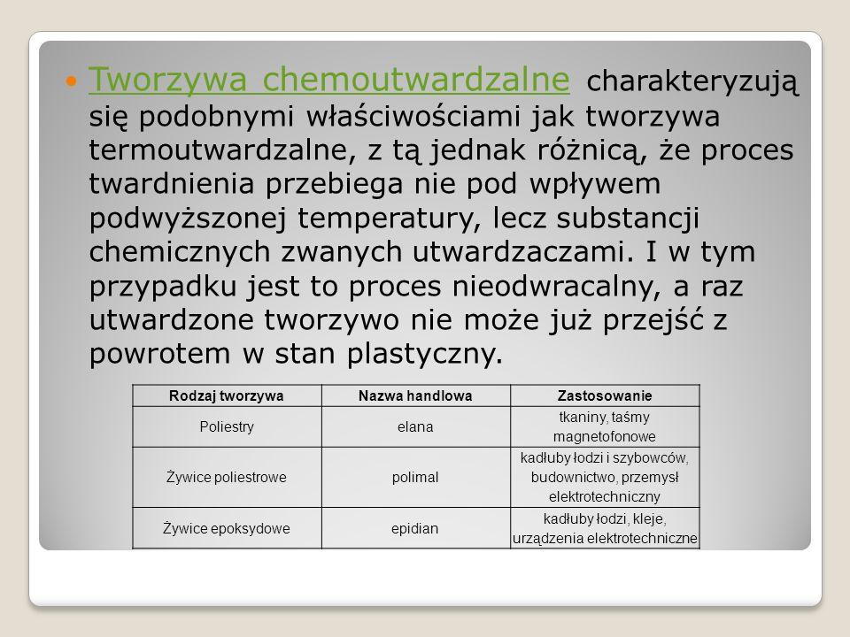 Tworzywa chemoutwardzalne charakteryzują się podobnymi właściwościami jak tworzywa termoutwardzalne, z tą jednak różnicą, że proces twardnienia przebi