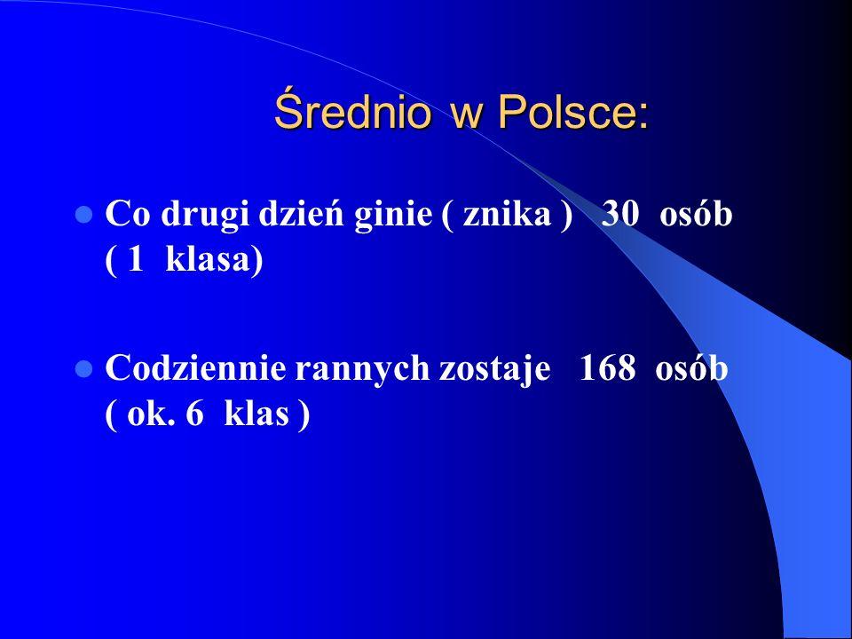 Średnio w Polsce: Co drugi dzień ginie ( znika ) 30 osób ( 1 klasa) Codziennie rannych zostaje 168 osób ( ok.