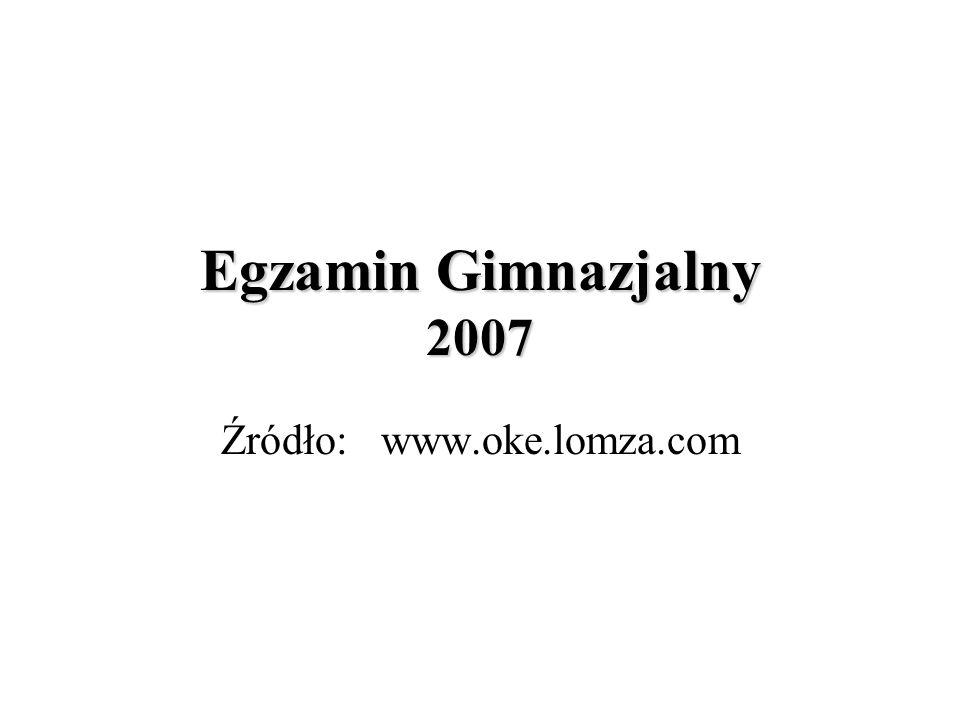 Egzamin Gimnazjalny 2007 Źródło: www.oke.lomza.com