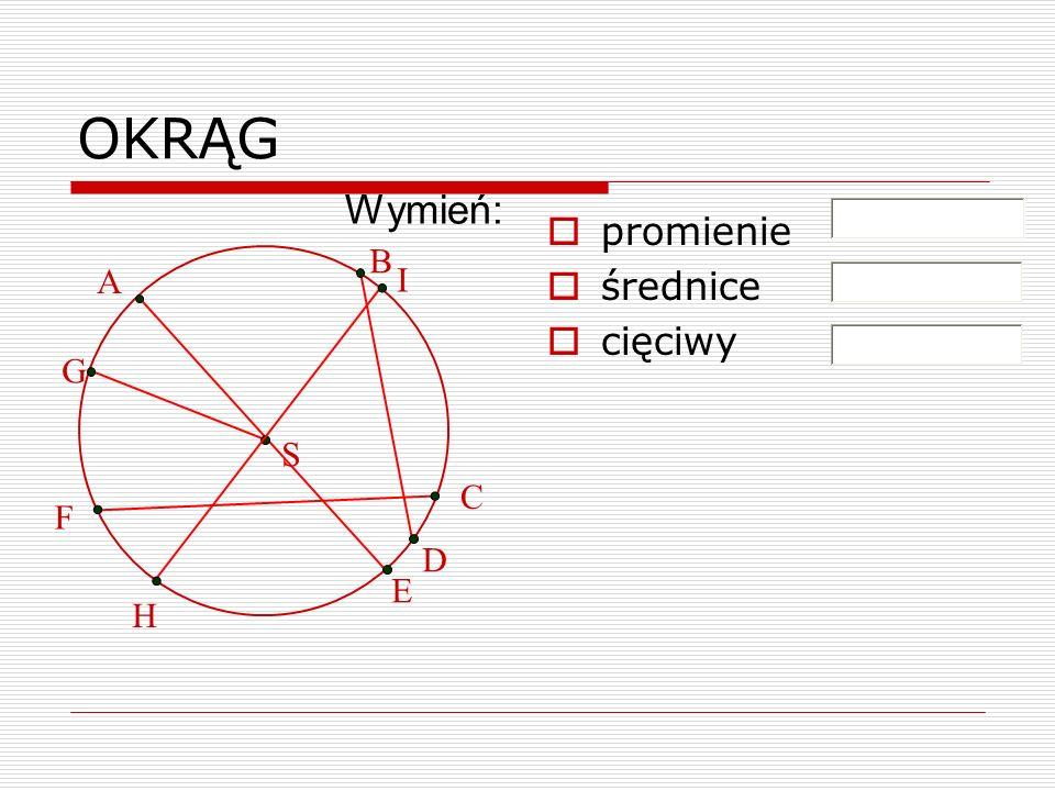 OKRĄG promienie średnice cięciwy G B D A E C F Wymień: S H I