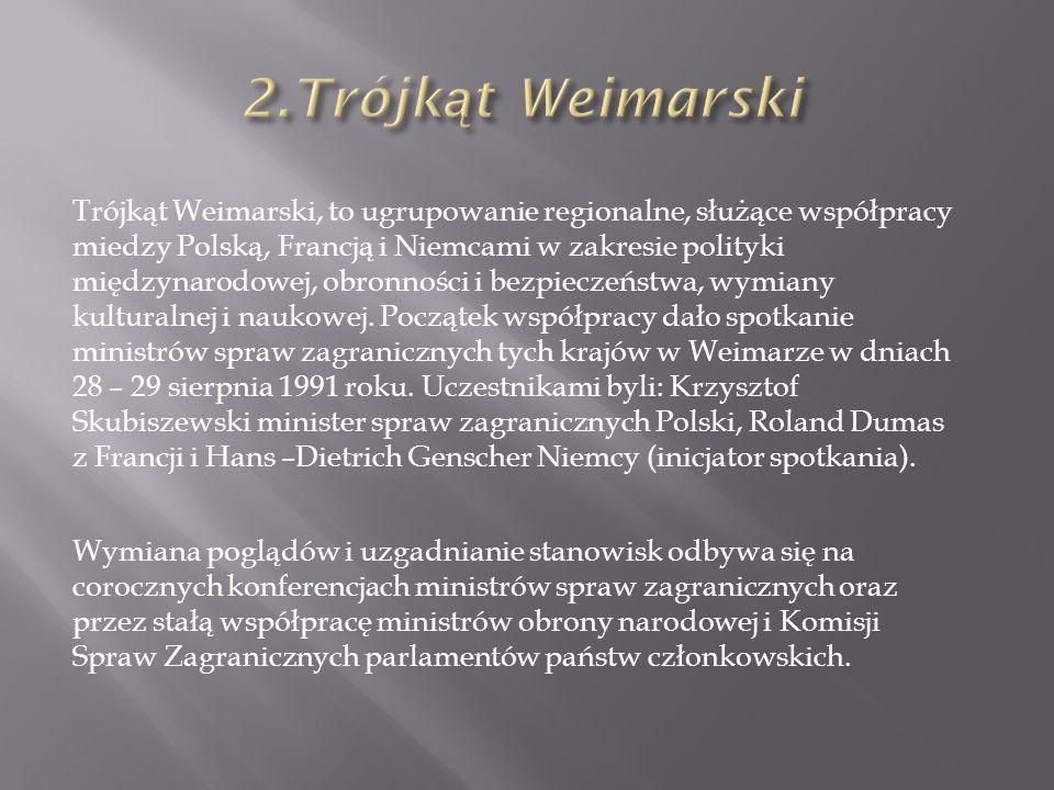 Trójkąt Weimarski, to ugrupowanie regionalne, służące współpracy miedzy Polską, Francją i Niemcami w zakresie polityki międzynarodowej, obronności i bezpieczeństwa, wymiany kulturalnej i naukowej.