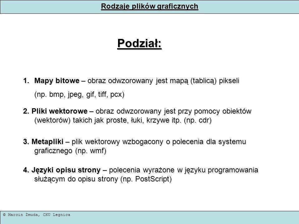 © Marcin Żmuda, CKU Legnica Rodzaje plików graficznych Podział: 1.Mapy bitowe – obraz odwzorowany jest mapą (tablicą) pikseli (np. bmp, jpeg, gif, tif