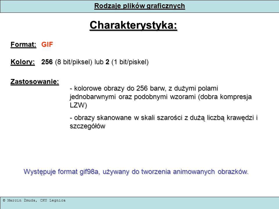 © Marcin Żmuda, CKU Legnica Rodzaje plików graficznych Charakterystyka: Format:GIF Kolory: 256 (8 bit/piksel) lub 2 (1 bit/piskel) Zastosowanie: - kol