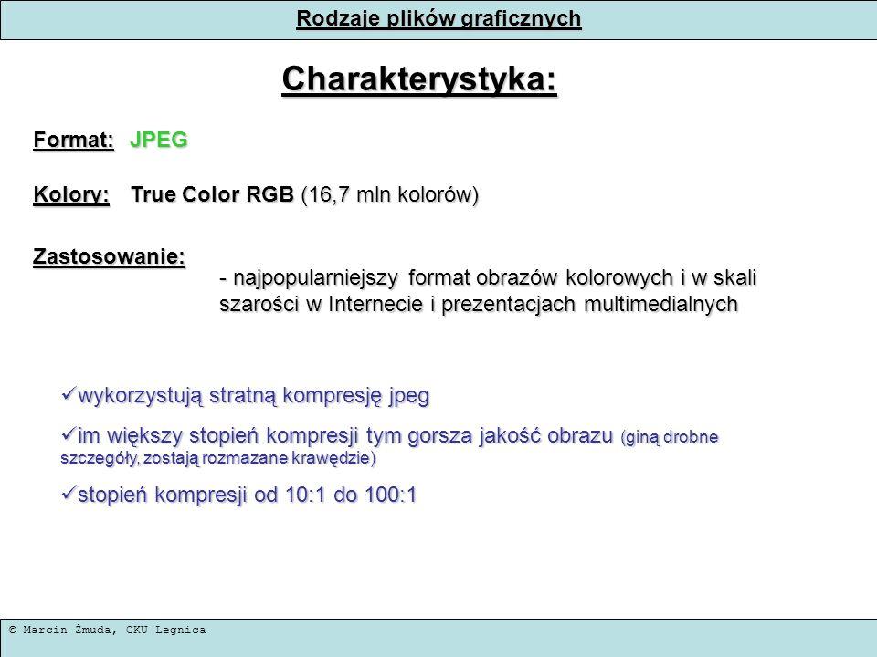 © Marcin Żmuda, CKU Legnica Rodzaje plików graficznych Charakterystyka: Format:JPEG Kolory: True Color RGB (16,7 mln kolorów) Zastosowanie: - najpopul