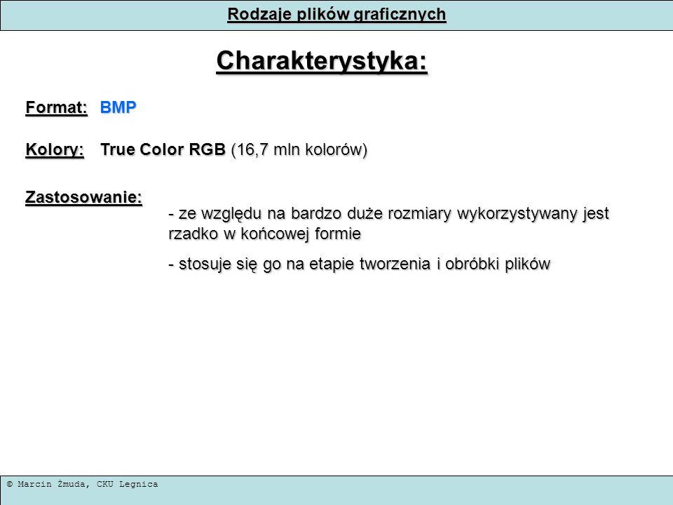 © Marcin Żmuda, CKU Legnica Rodzaje plików graficznych Charakterystyka: Format:BMP Kolory: True Color RGB (16,7 mln kolorów) Zastosowanie: - ze względ