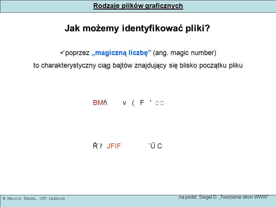 © Marcin Żmuda, CKU Legnica Rodzaje plików graficznych Jak możemy identyfikować pliki? poprzez magiczną liczbę (ang. magic number) poprzez magiczną li