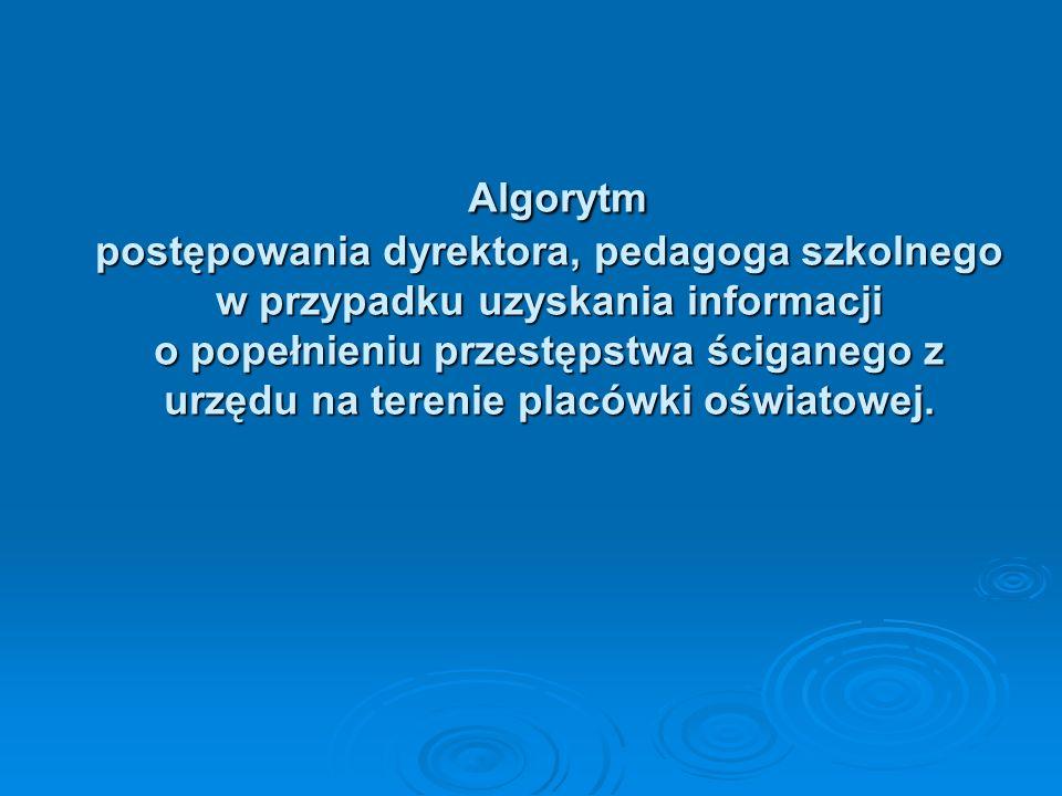 Algorytm postępowania dyrektora, pedagoga szkolnego w przypadku uzyskania informacji o popełnieniu przestępstwa ściganego z urzędu na terenie placówki oświatowej.