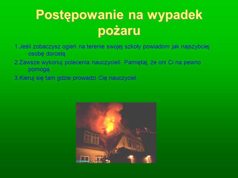 Postępowanie na wypadek pożaru 1.Jeśli zobaczysz ogień na terenie swojej szkoły powiadom jak najszybciej osobę dorosłą. 2.Zawsze wykonuj polecenia nau