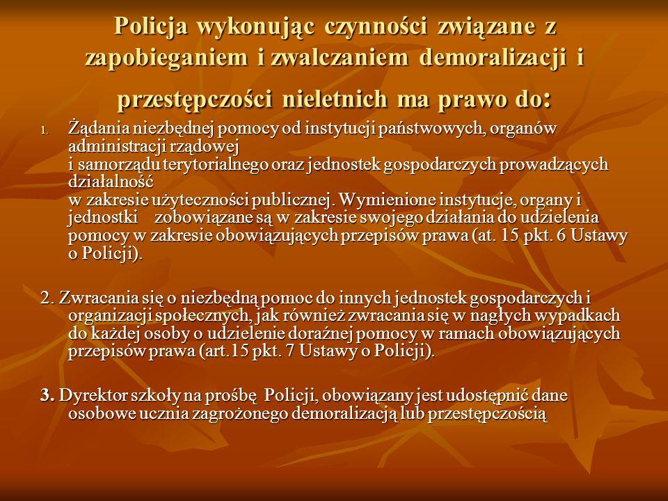 Policja wykonując czynności związane z zapobieganiem i zwalczaniem demoralizacji i przestępczości nieletnich ma prawo do: 1.