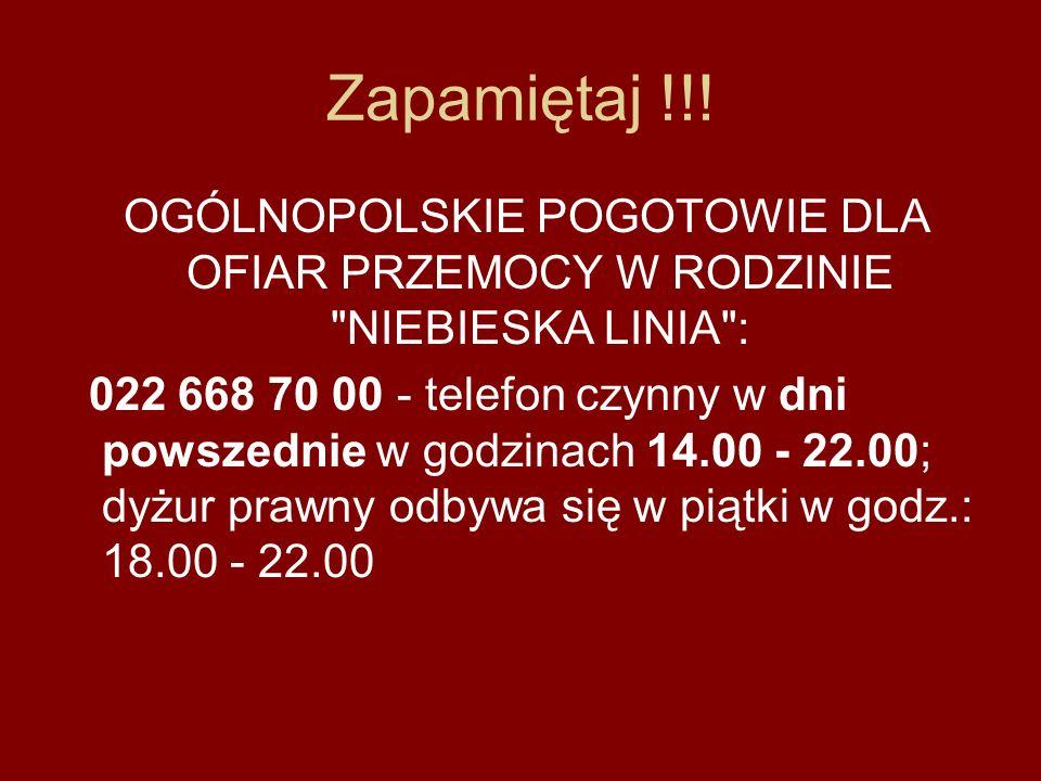 POMOC - INFORMACJE - INTERWENCJE Telefon Informacyjno - Interwencyjny 0 22 696 55 50 DZIECIĘCY TELEFON ZAUFANIA RZECZNIKA PRAW DZIECKA 0 800 12 12 12