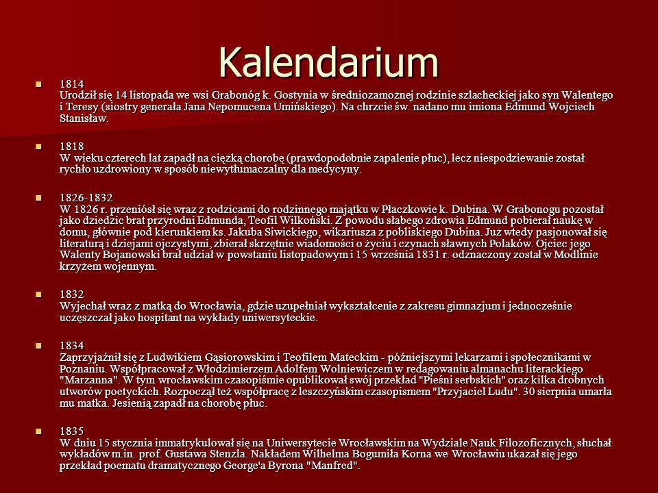 Kalendarium 1814 Urodził się 14 listopada we wsi Grabonóg k. Gostynia w średniozamożnej rodzinie szlacheckiej jako syn Walentego i Teresy (siostry gen