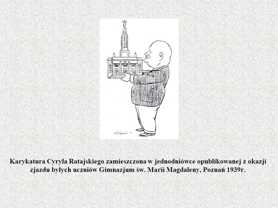 Karykatura Cyryla Ratajskiego zamieszczona w jednodniówce opublikowanej z okazji zjazdu byłych uczniów Gimnazjum św. Marii Magdaleny, Poznań 1939r.