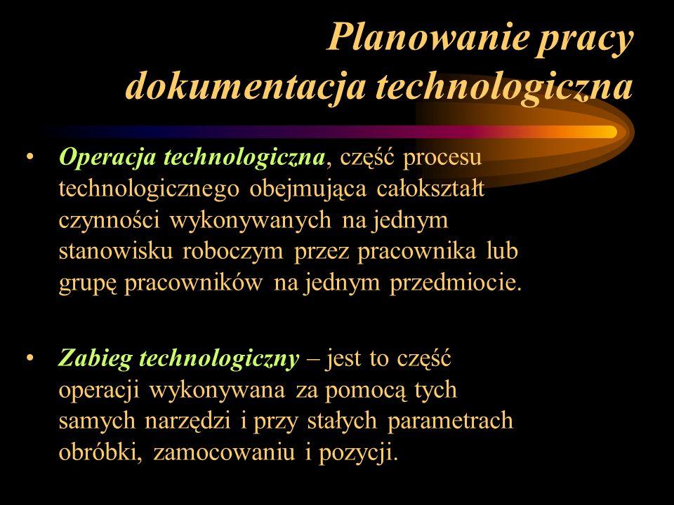 Planowanie pracy dokumentacja technologiczna Operacja technologiczna, część procesu technologicznego obejmująca całokształt czynności wykonywanych na