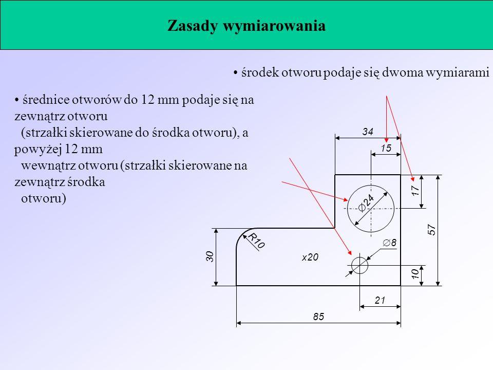 średnice otworów do 12 mm podaje się na zewnątrz otworu (strzałki skierowane do środka otworu), a powyżej 12 mm wewnątrz otworu (strzałki skierowane n