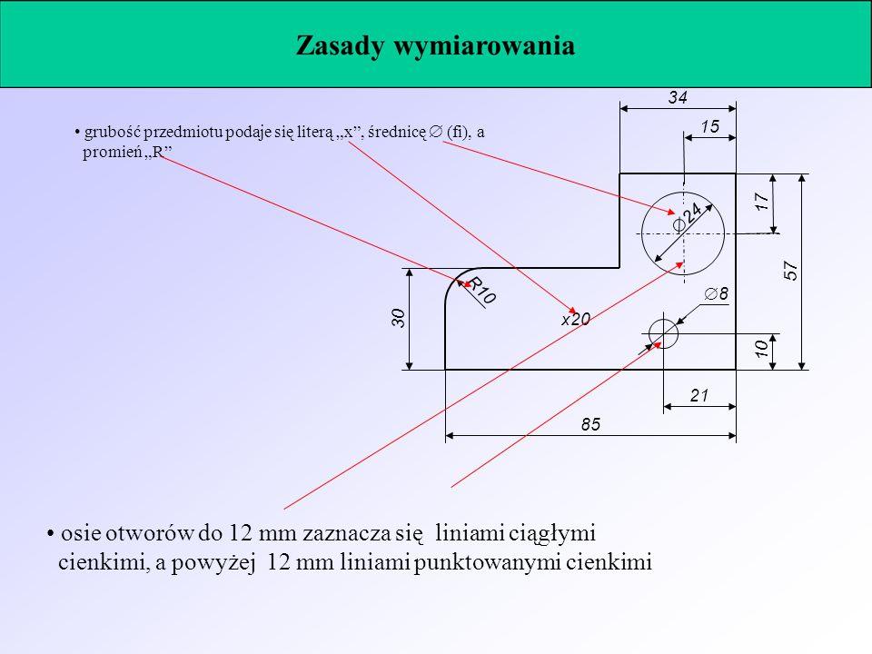 24 8 1057 17 15 34 21 85 30 R10 x20 grubość przedmiotu podaje się literą x, średnicę (fi), a promień R osie otworów do 12 mm zaznacza się liniami ciąg