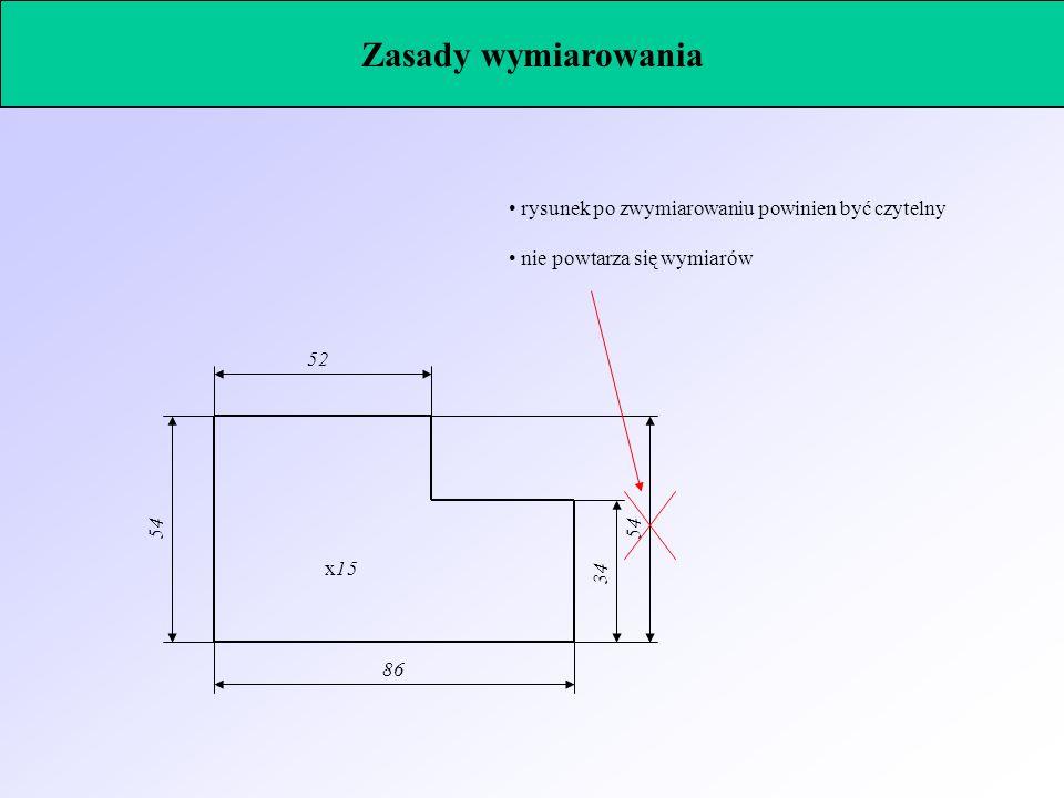 rysunek po zwymiarowaniu powinien być czytelny nie powtarza się wymiarów x15 52 34 86 54 Zasady wymiarowania