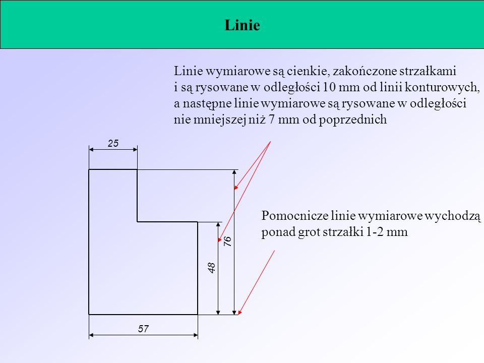 Linie 4876 Linie wymiarowe są cienkie, zakończone strzałkami i są rysowane w odległości 10 mm od linii konturowych, a następne linie wymiarowe są ryso