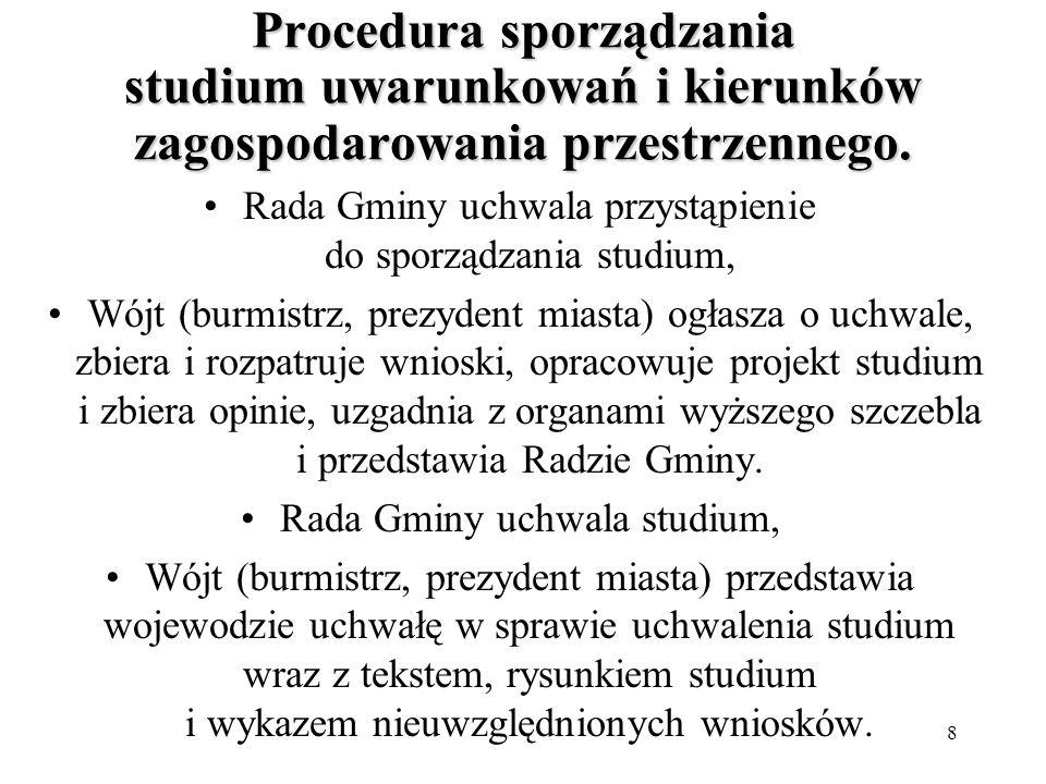 8 Procedura sporządzania studium uwarunkowań i kierunków zagospodarowania przestrzennego.