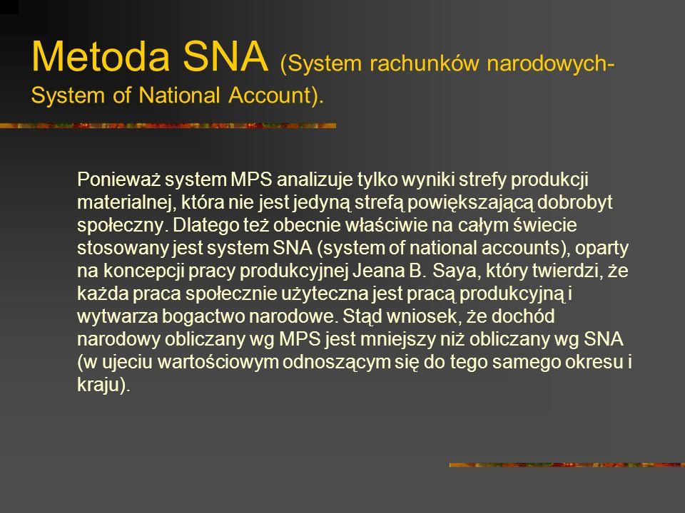 Metoda SNA W systemie SNA stosuje się grupy wskaźników makroekonomicznych tj.: 1.