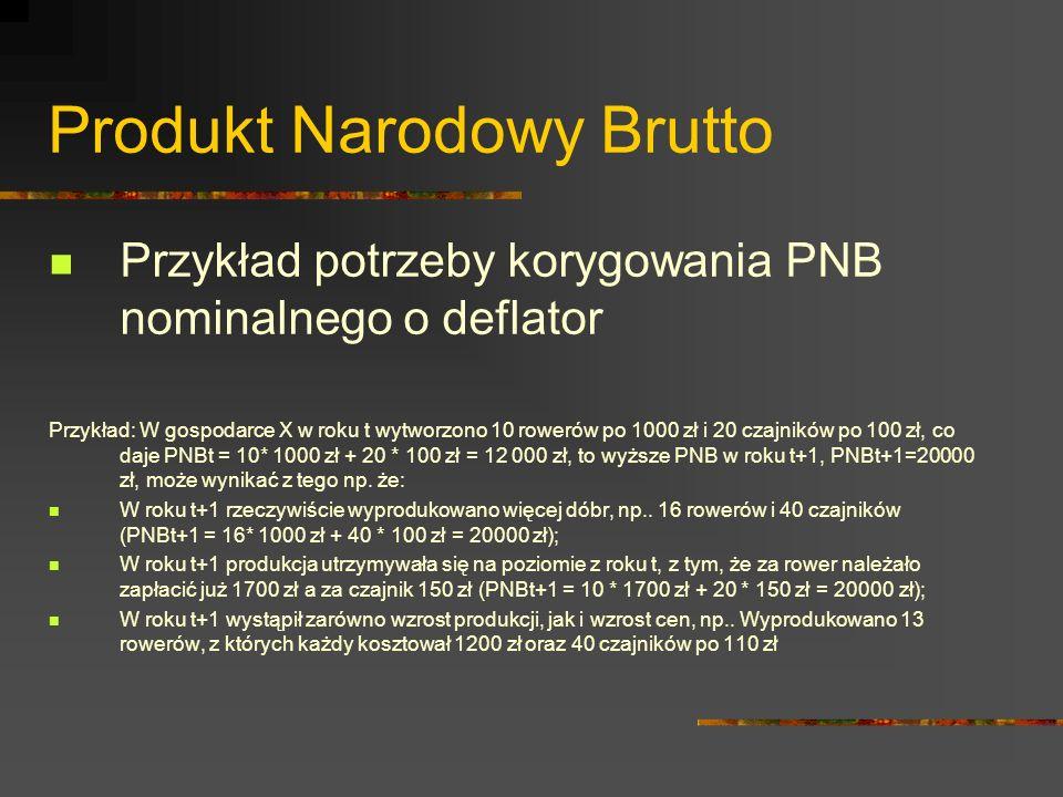 Produkt Narodowy Brutto Za pomocą deflatora można porównać PNB z dwóch określonych lat np.: PNB z 1950r.
