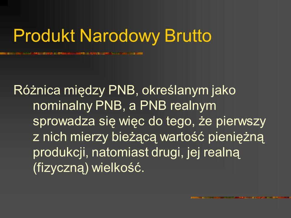 Produkt Narodowy Brutto PNB może być rozpatrywany i mierzony na 3 sposoby, dające oczywiście identyczny wynik: 1.