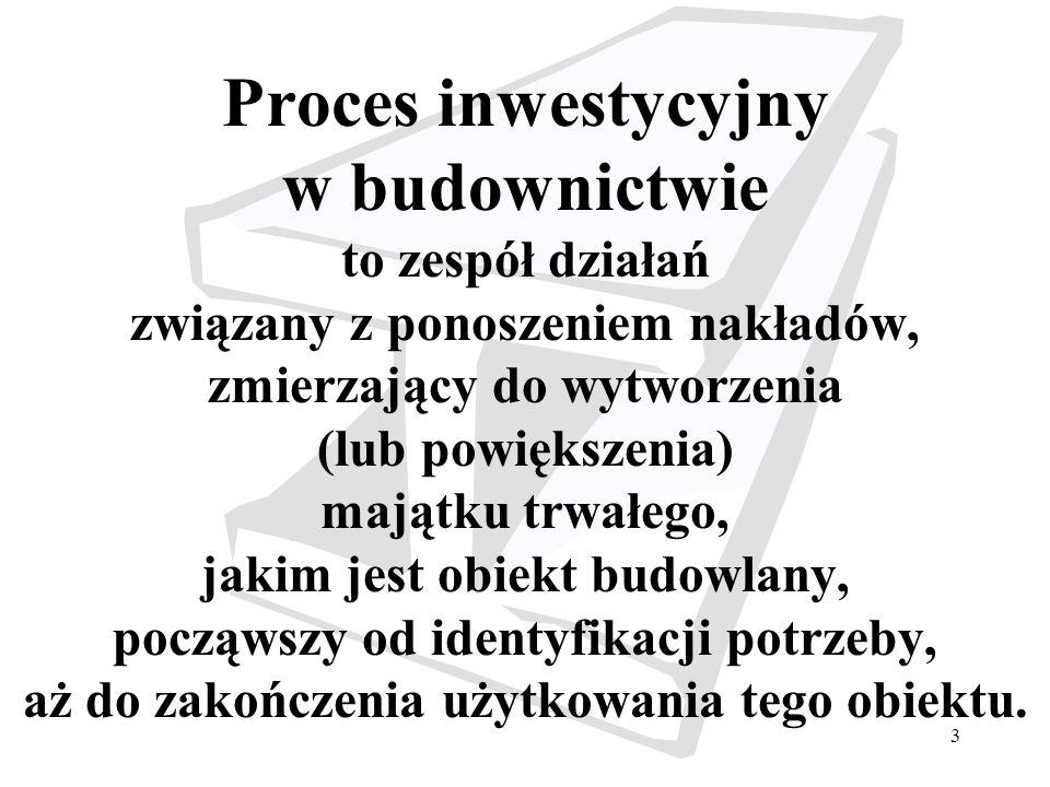 3 Proces inwestycyjny w budownictwie to zespół działań związany z ponoszeniem nakładów, zmierzający do wytworzenia (lub powiększenia) majątku trwałego