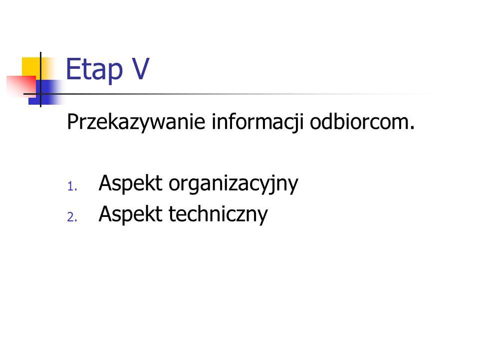 Etap V Przekazywanie informacji odbiorcom. 1. Aspekt organizacyjny 2. Aspekt techniczny