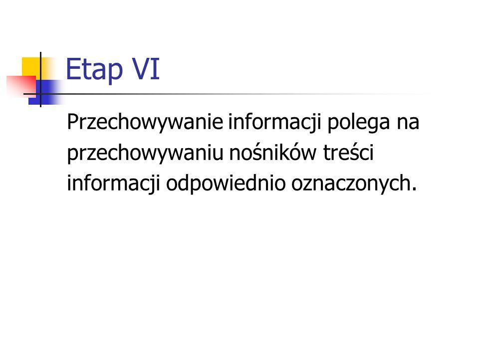 Etap VI Przechowywanie informacji polega na przechowywaniu nośników treści informacji odpowiednio oznaczonych.