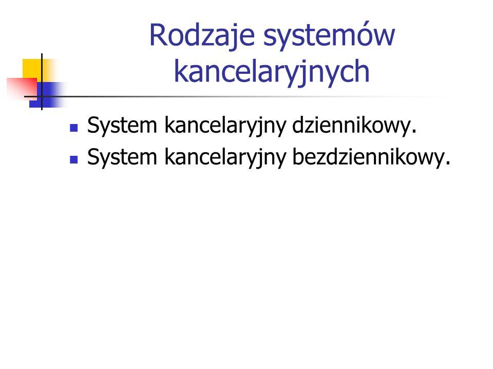 Rodzaje systemów kancelaryjnych System kancelaryjny dziennikowy. System kancelaryjny bezdziennikowy.