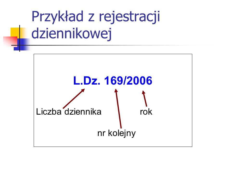 Przykład z rejestracji dziennikowej L.Dz. 169/2006 Liczba dziennika rok nr kolejny