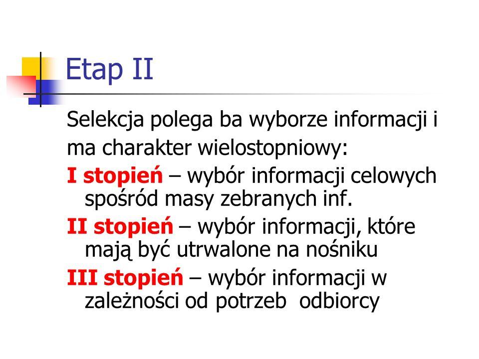 Etap II Selekcja polega ba wyborze informacji i ma charakter wielostopniowy: I stopień – wybór informacji celowych spośród masy zebranych inf. II stop