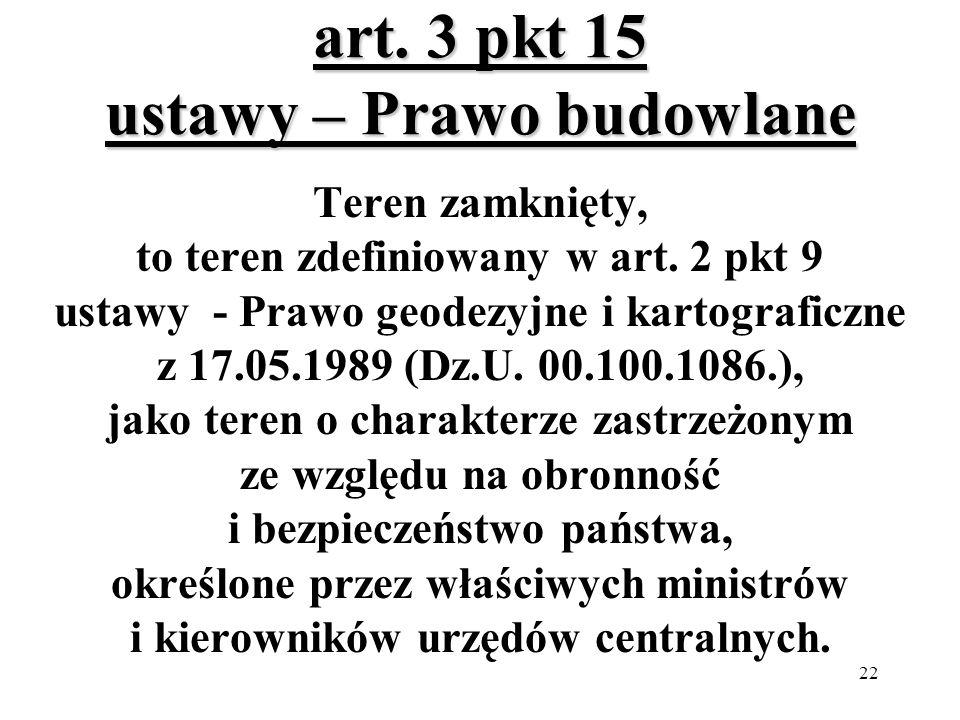 22 art.3 pkt 15 ustawy – Prawo budowlane Teren zamknięty, to teren zdefiniowany w art.