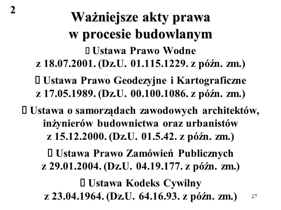 27 Ważniejsze akty prawa w procesie budowlanym Ważniejsze akty prawa w procesie budowlanym Ustawa Prawo Wodne z 18.07.2001.