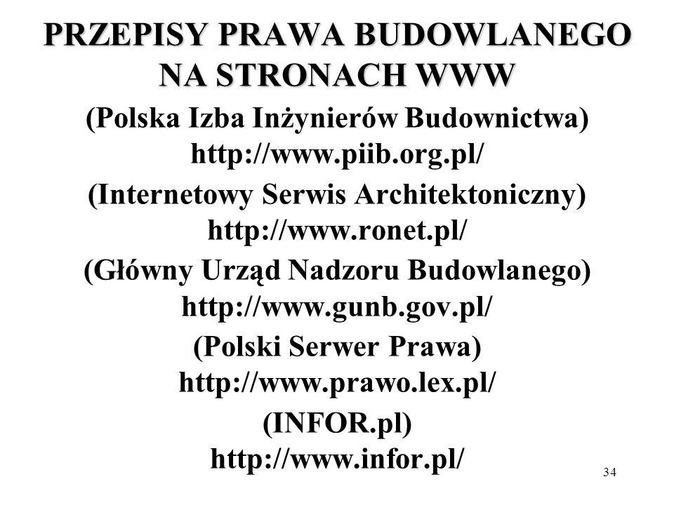 34 PRZEPISY PRAWA BUDOWLANEGO NA STRONACH WWW PRZEPISY PRAWA BUDOWLANEGO NA STRONACH WWW (Polska Izba Inżynierów Budownictwa) http://www.piib.org.pl/ (Internetowy Serwis Architektoniczny) http://www.ronet.pl/ (Główny Urząd Nadzoru Budowlanego) http://www.gunb.gov.pl/ (Polski Serwer Prawa) http://www.prawo.lex.pl/ (INFOR.pl) http://www.infor.pl/