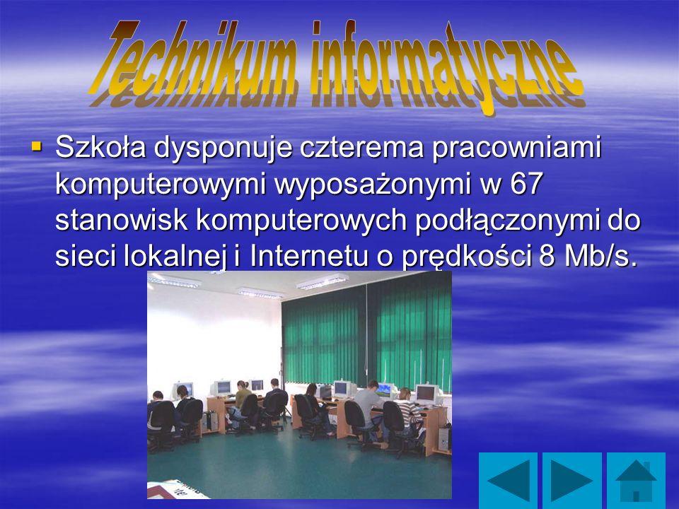 Szkoła dysponuje czterema pracowniami komputerowymi wyposażonymi w 67 stanowisk komputerowych podłączonymi do sieci lokalnej i Internetu o prędkości 8 Mb/s.
