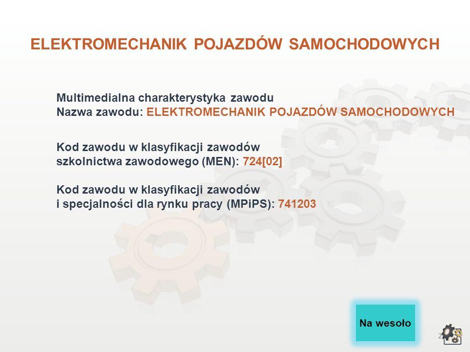 ELEKTROMECHANIK POJAZDÓW SAMOCHODOWYCH wersja dla gimnazjów i szkół ponadgimnazjalnych